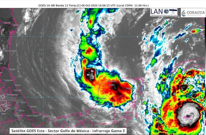 Yucatan Gamma and Hurricane DElta satellite