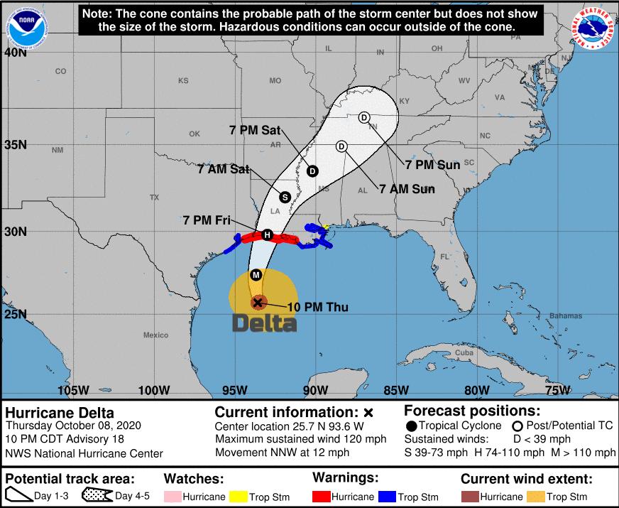 NHC Hurricane Delta track