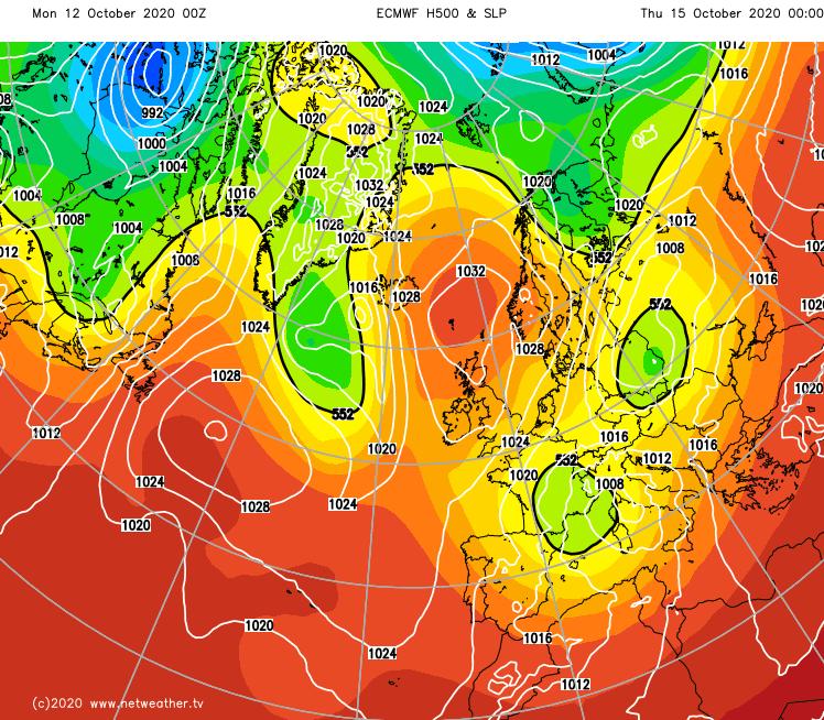 High pressure ridging in on Thursday