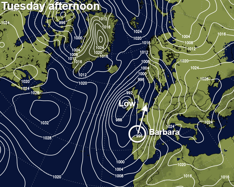 Low pressure over Ireland and Storm Barbara in the Bay of Biscay later