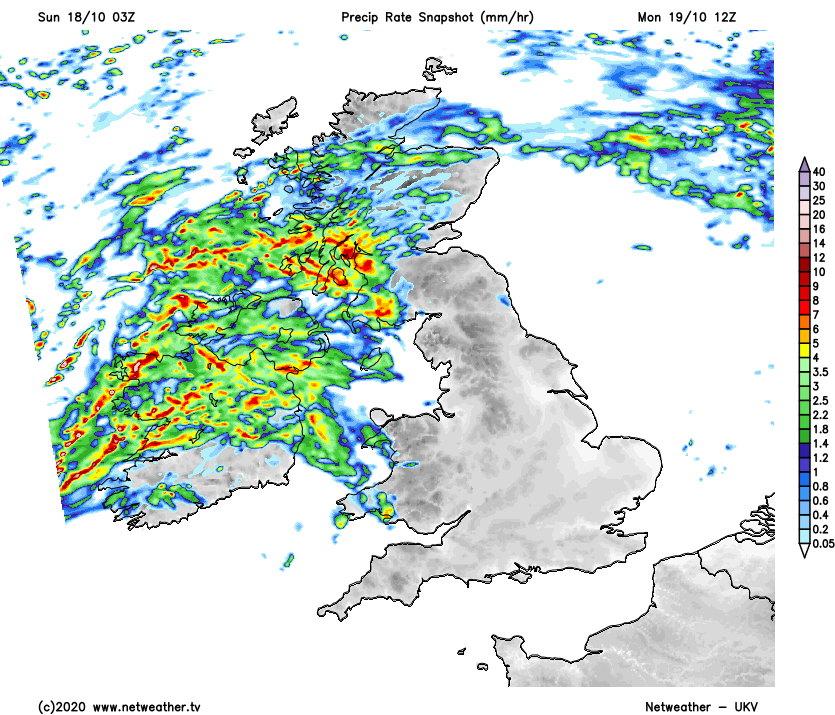 Rain in the north and west on Monday
