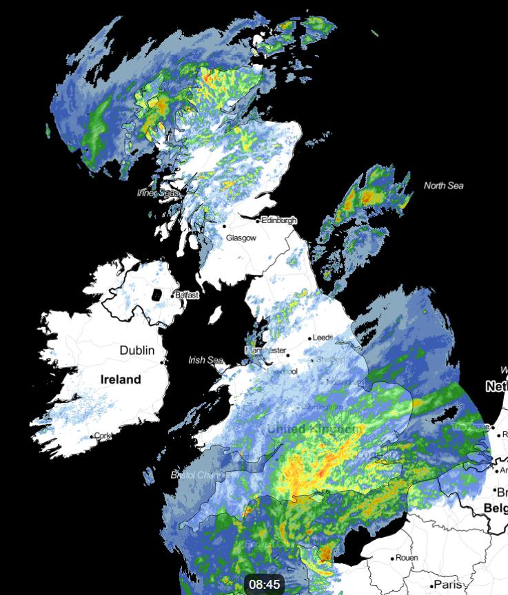Rain radar from earlier this morning