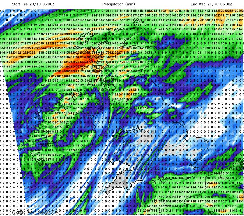 Forecast rainfall on Tuesday