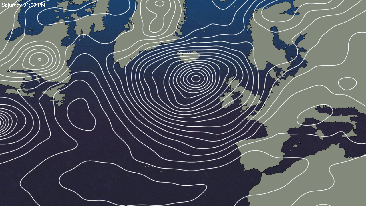 Deep Atlantic depression dominating the weather this weekend