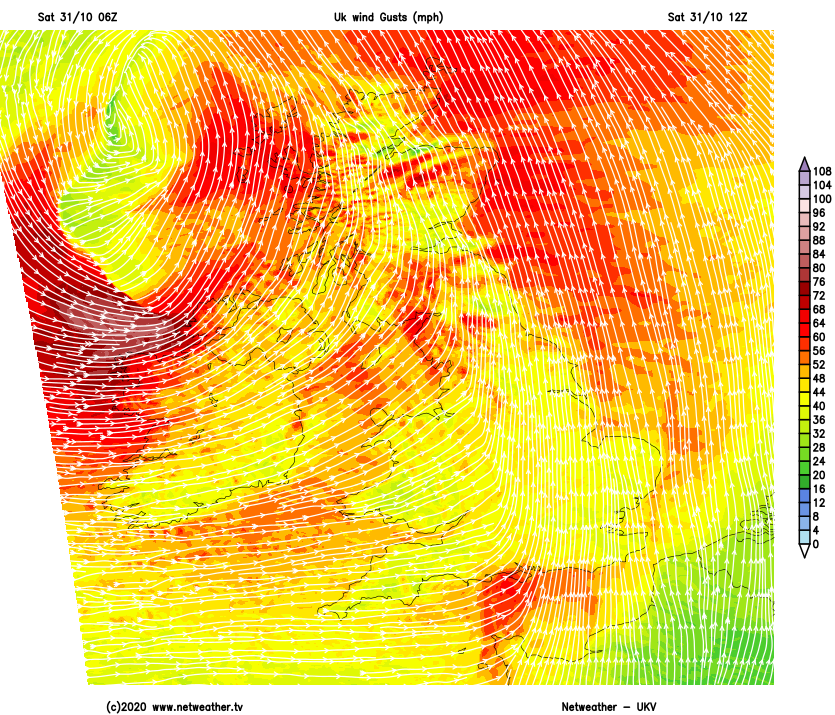 Wind gust map for Saturday 12:00