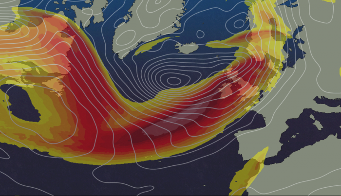 Active Jet Stream firing a barrage of low pressure systems towards the UK