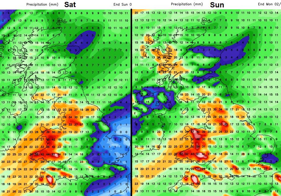 Heavy rain UK weekend