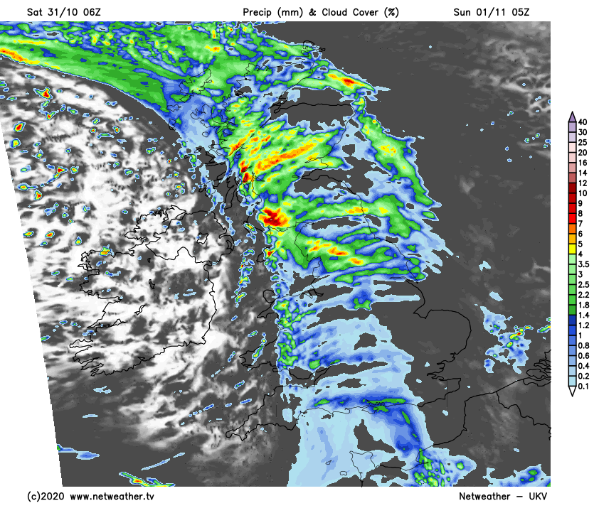 Heavy rain moving west to east overnight