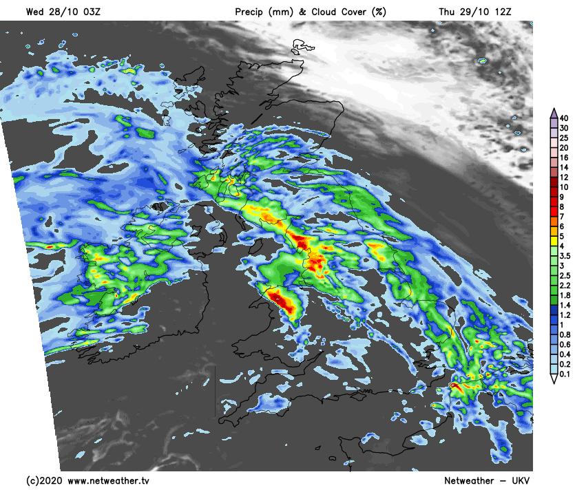 Rain moving northeast on Thursday