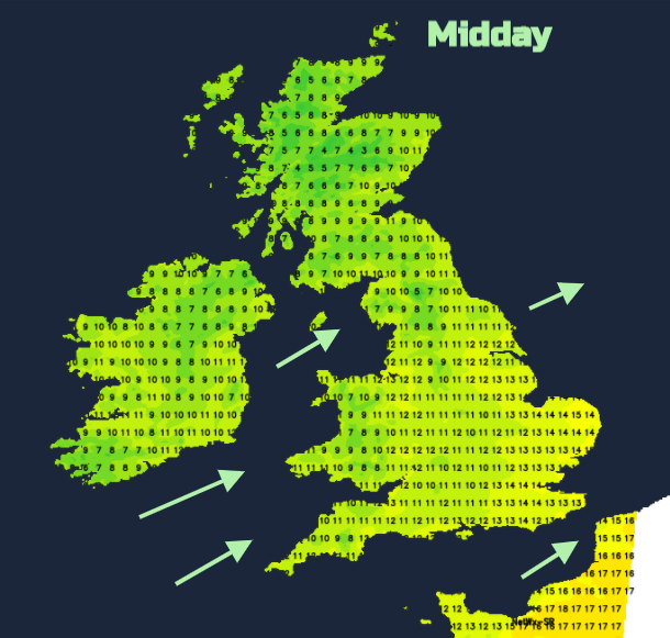 Monday UK temperatures
