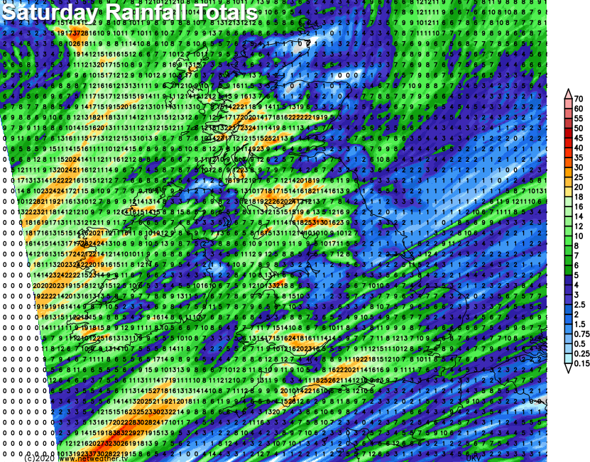 Rainfall totals Saturday