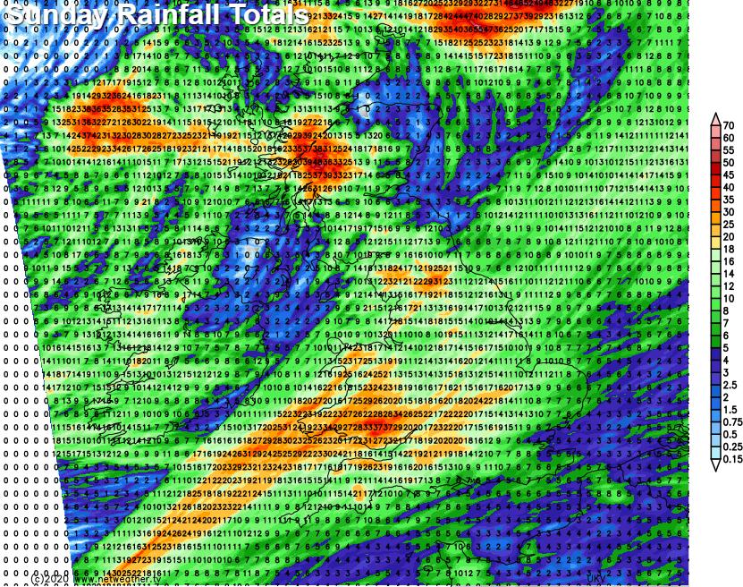 Rainfall totals Sunday