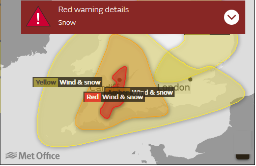 Red warning Snow BEast from the East