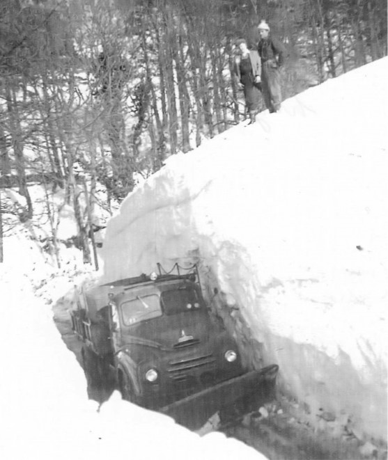 Extreme snow drifts in Northumberland during the winter of 1962-1963