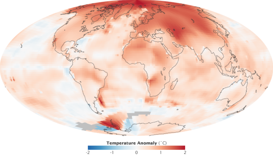 Arctic Amplification show by the 2000-2009 Surface Air Temperature Anomaly: NASA GISS