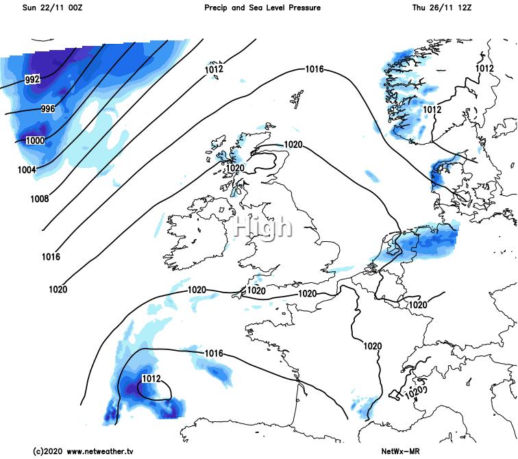 A ridge of high pressure on Thursday
