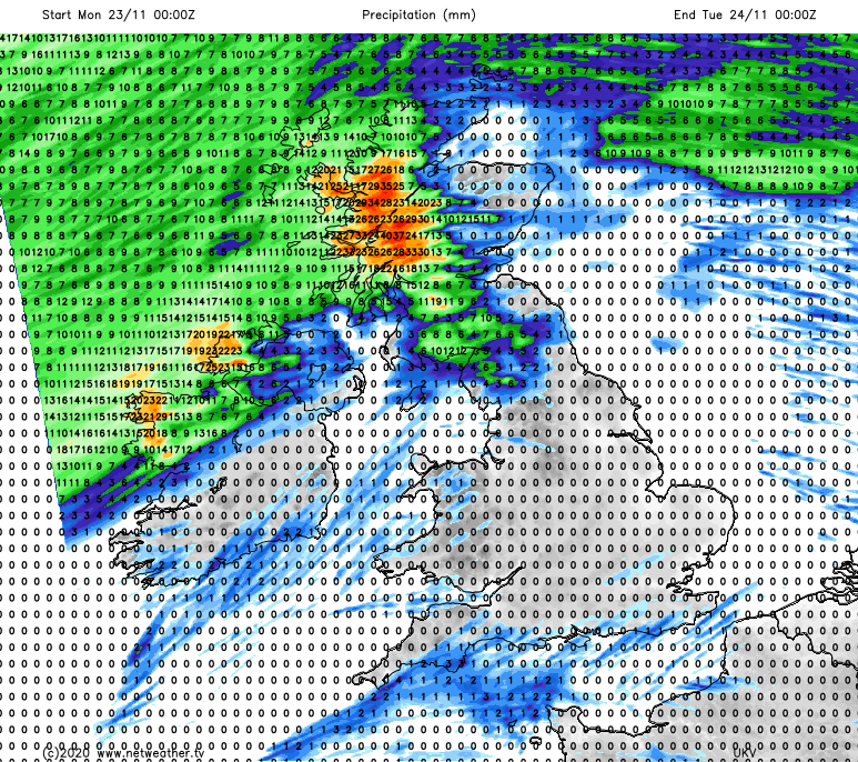 Forecast rainfall totals on Monday