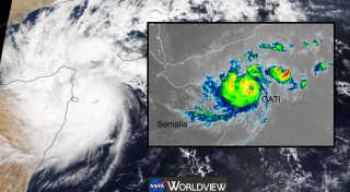 Cyclone Gati hits Somalia, its strongest cyclone in the satellite era