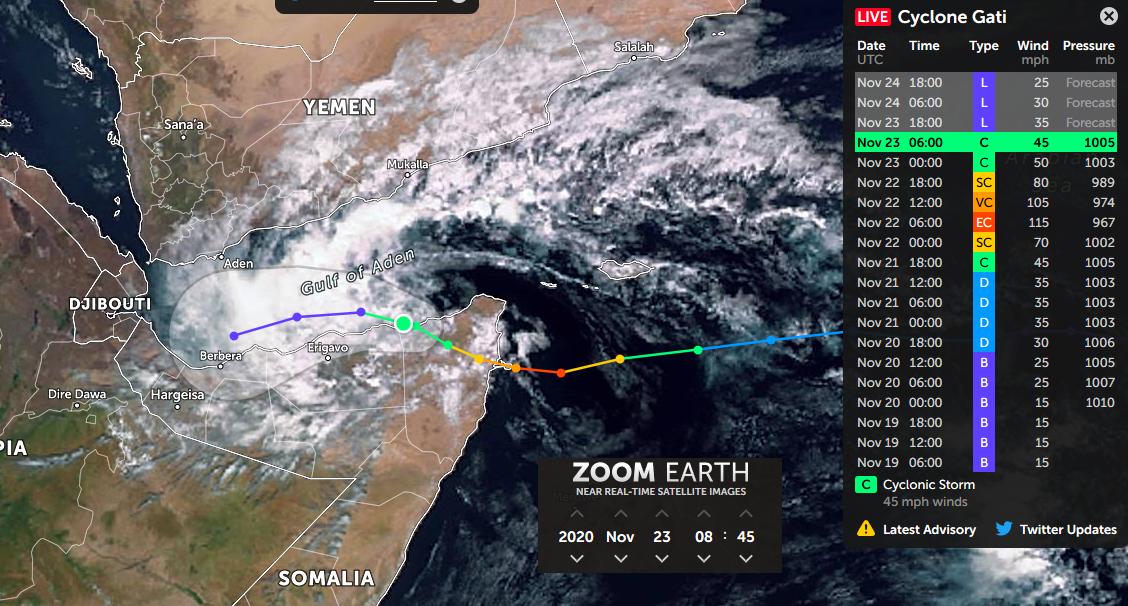 Zoom Earth Cyclone Gati Somalia