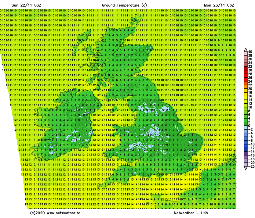 Patchy frost on Monday morning