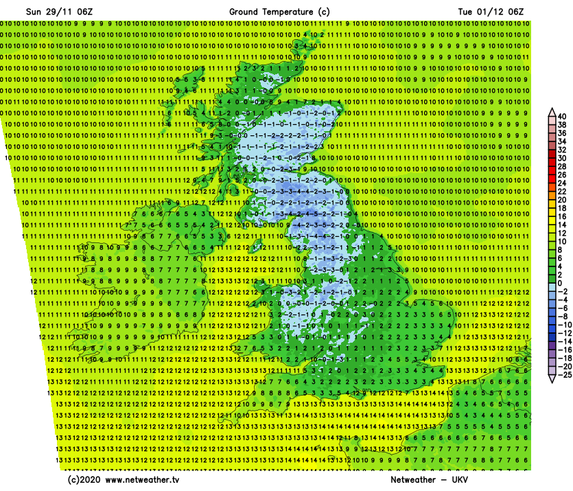 Widespread ground frost on Tuesday morning