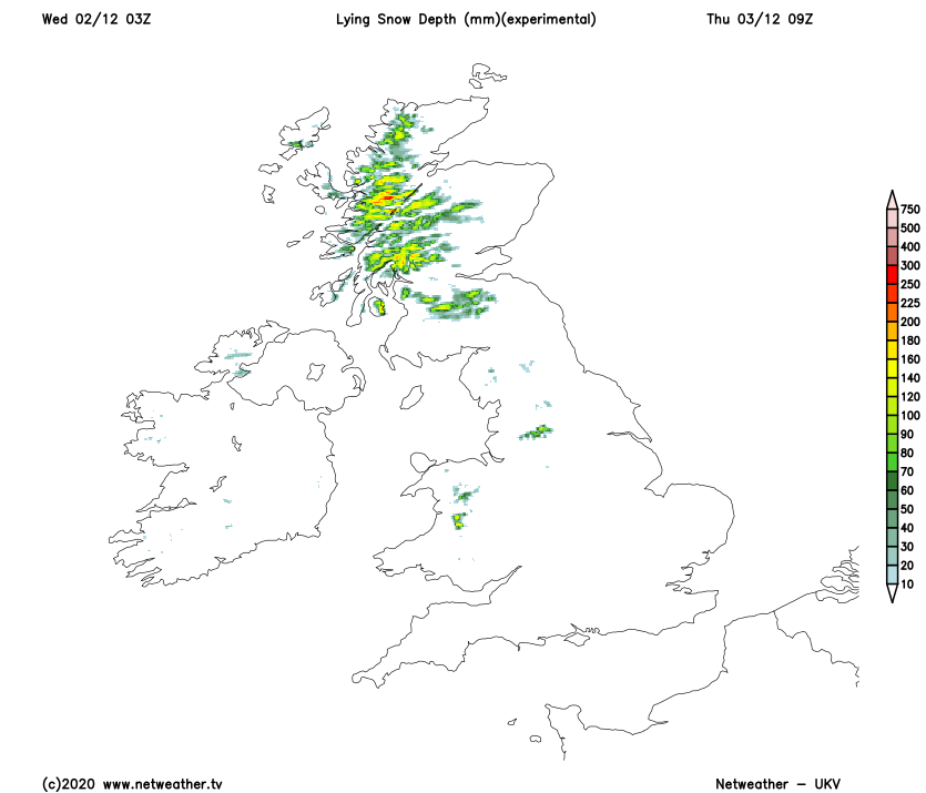 Snow accumulating over the hills of Scotland, Northern England and Wales by Thursday morning