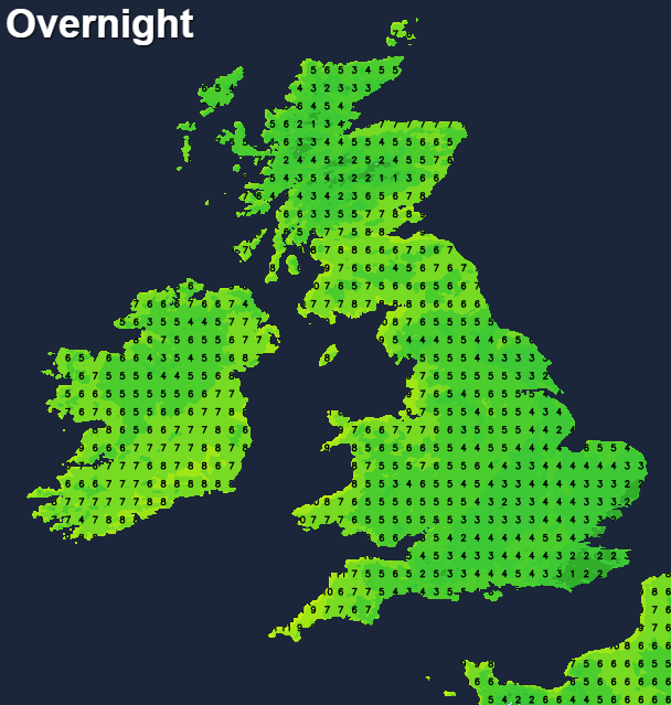 Temperatures overnight tonight