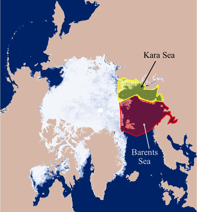 Sea ice concentration map from late November showing the locations of the Kara and Barents Seas.
