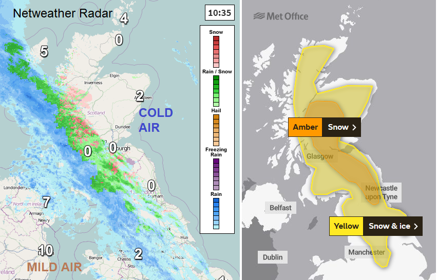 Amber warning for snow