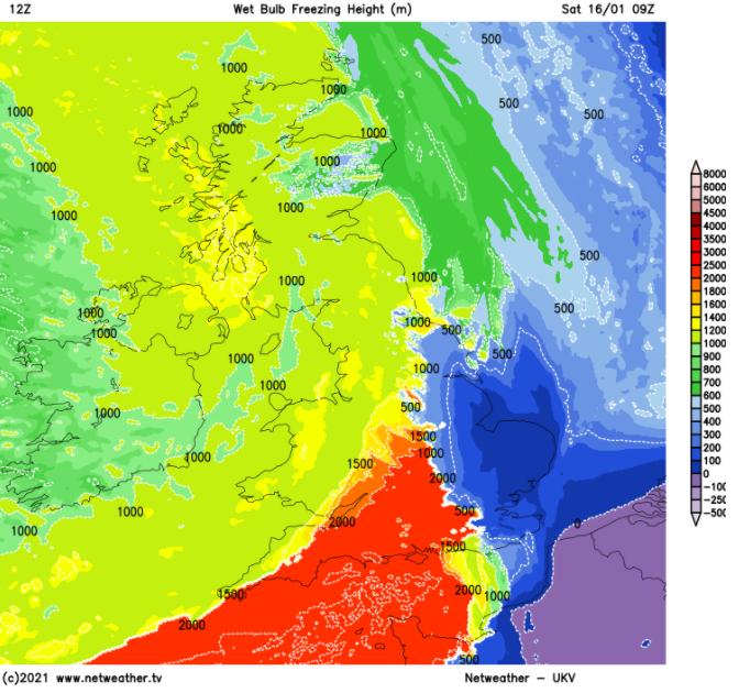 wet bulb freezing layer snow forecasting UK