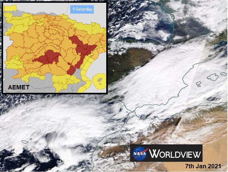 AEMET red warning for snow Nieve Madrid