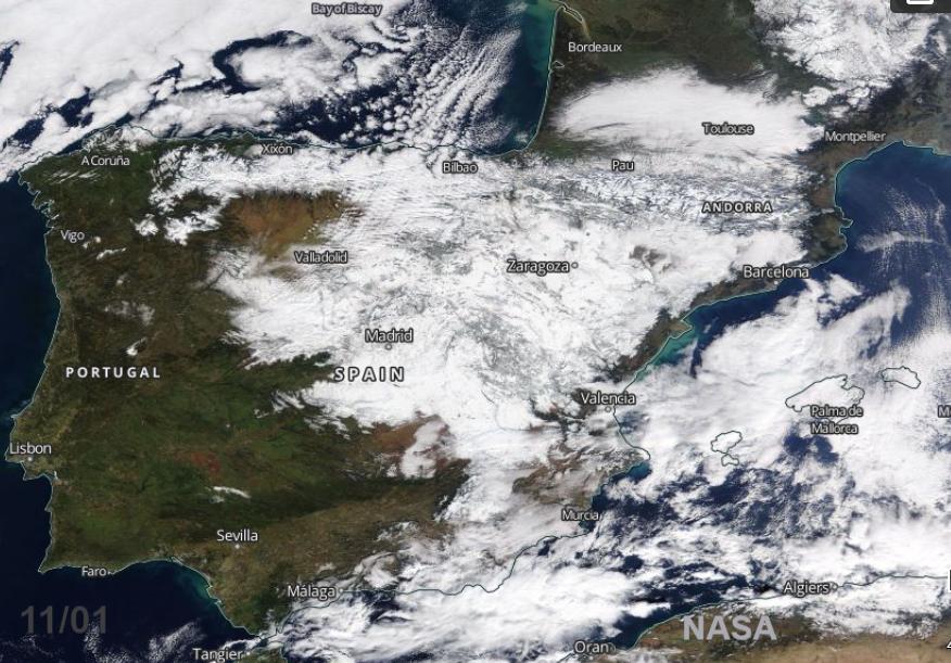 Iberia Snow cover after Filomena Madrid