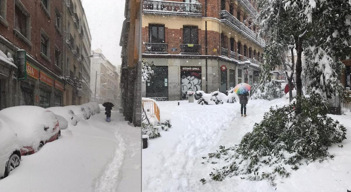 Exceptional Madrid snow from Storm Filomena