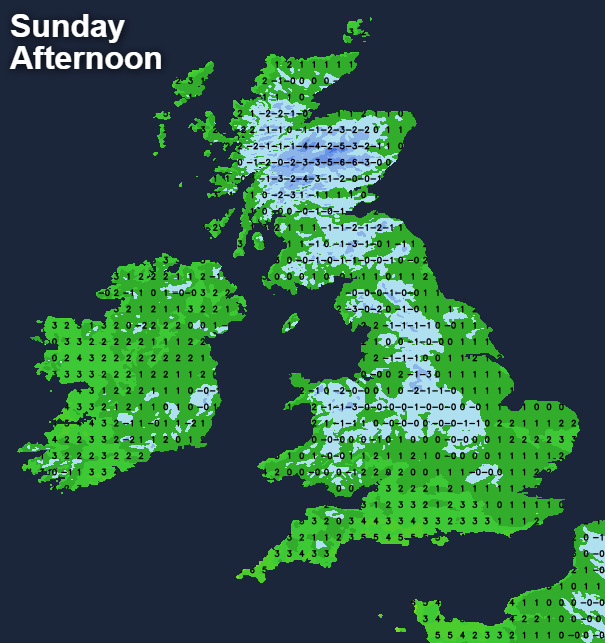 Temperatures staying below freezing in places on Sunday