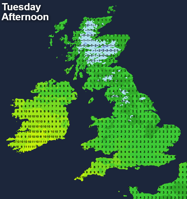 Temperatures on Tuesday afternoon - becoming milder from the southwest