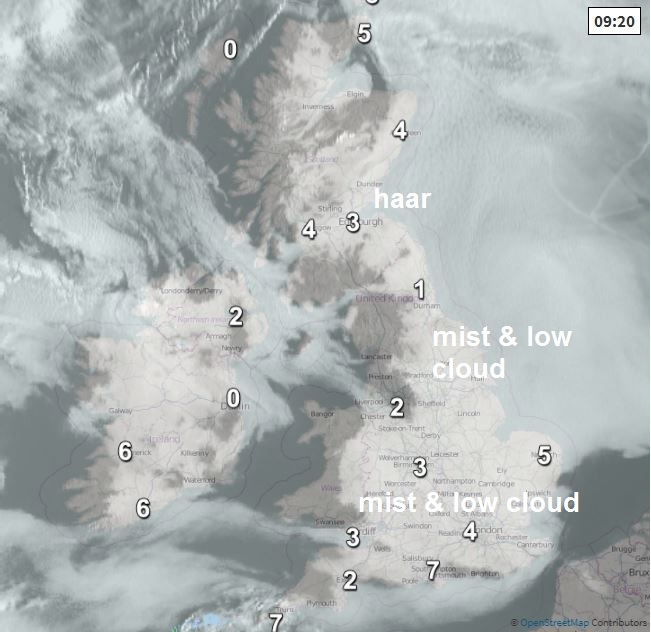 Mist and low cloud shown by satellite this morning