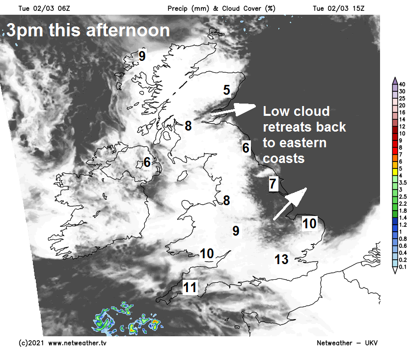 Cloud retreating back to coasts this afternoon