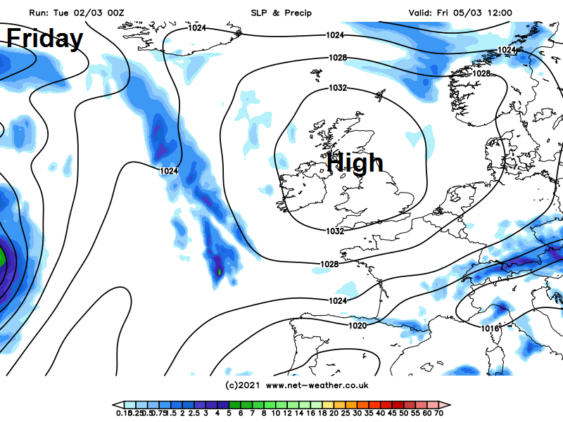 High pressure over the UK on Friday