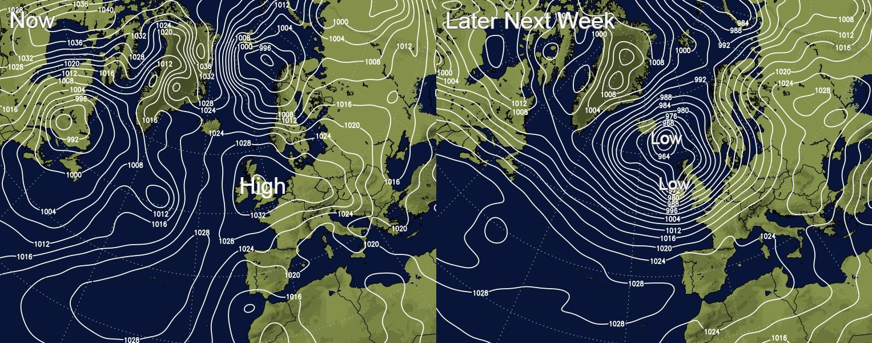 High pressure this weekend but low pressure arriving next week
