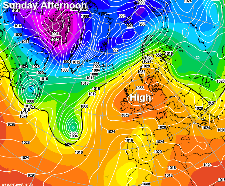 High pressure over the UK on Sunday