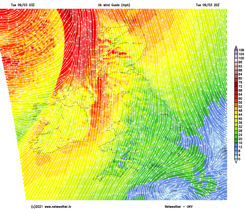 Severe gales in the northwest this evening