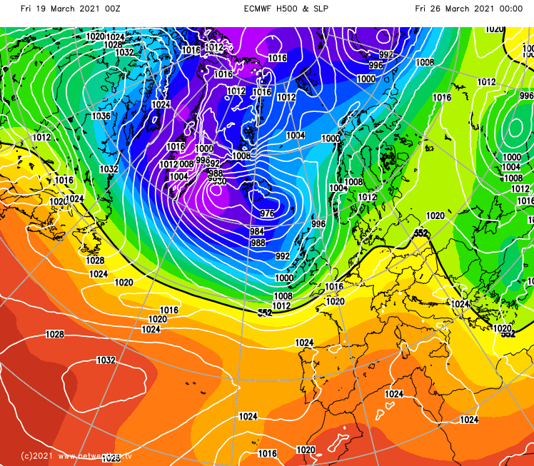 ECMWF showing low pressure next to the UK later next week
