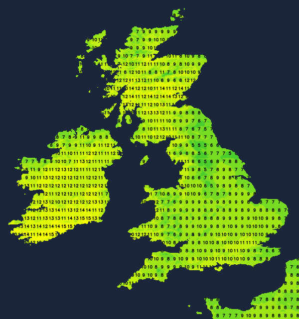 Temperatures on Friday afternoon - warmest in Scotland