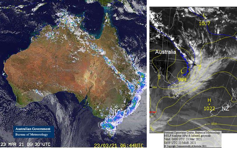 Australia floods coastal low heading south