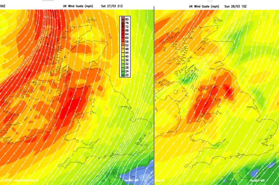Strong winds UK weekend