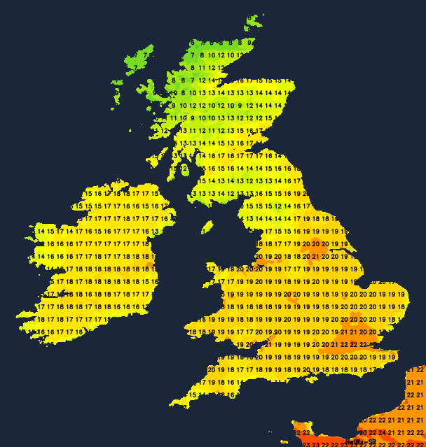 Very warm temperatures across England and Wales on Tuesday