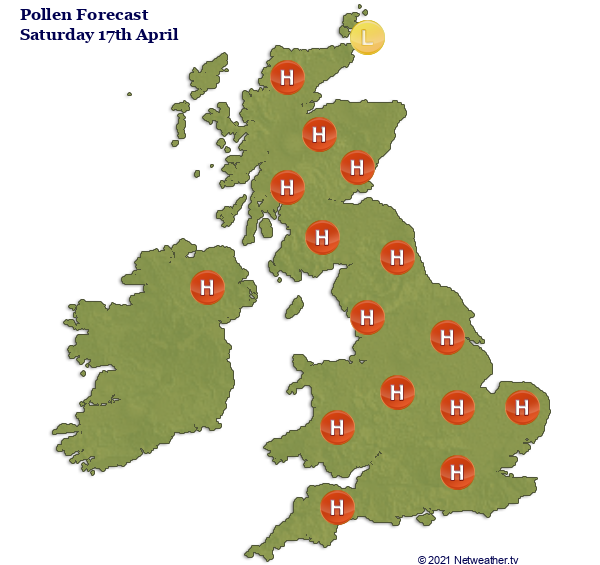 High Pollen count on Saturday