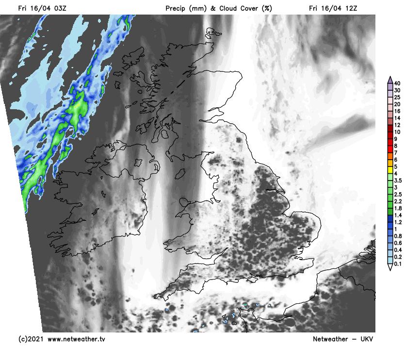 Broken cloud across much of the UK today