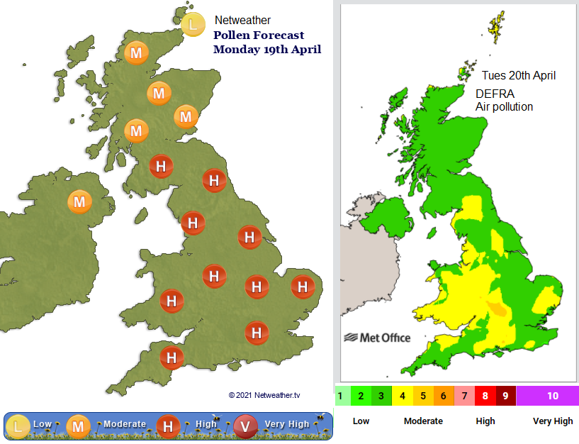 Air quality pollution and pollen count UK