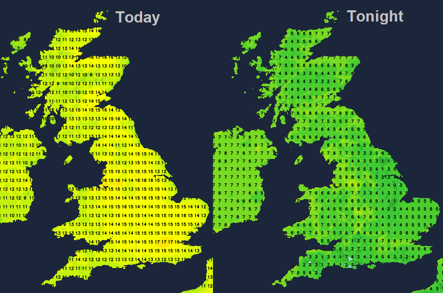 UK temperatures weather